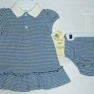 Vintage Adorable 2 Pc Striped Dress Outfit Set